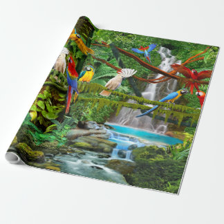 PARROTS IN PARADISE WRAPPING PAPER