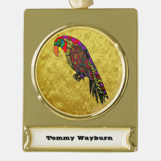 Parrots in yellow red green blue gold foil gold plated banner ornament