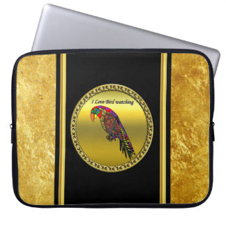 Parrots in yellow red green blue gold foil laptop sleeve