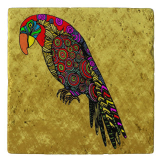Parrots in yellow red green blue gold foil trivet