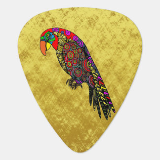 Parrots in yellow red green blue plectrum