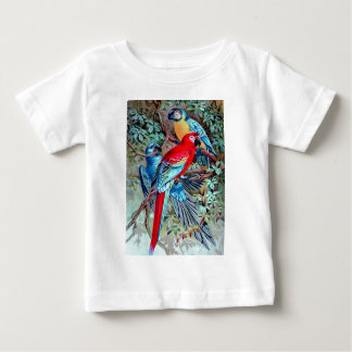 Parrots macaw wild birds colorful painting baby T-Shirt