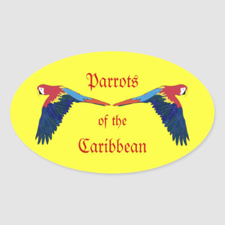 Parrots of the Caribbean Yellow Oval Sticker