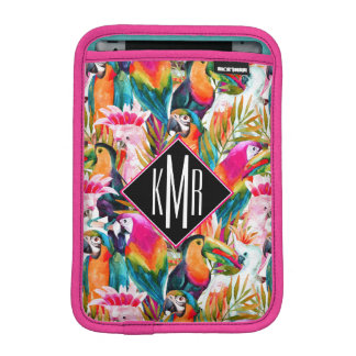 Parrots & Palm Leaves | Monogram iPad Mini Sleeves