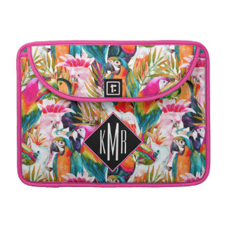 Parrots & Palm Leaves | Monogram Sleeve For MacBook Pro