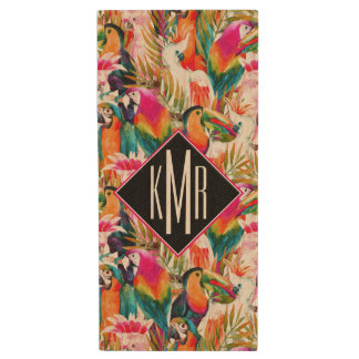 Parrots & Palm Leaves | Monogram Wood USB 2.0 Flash Drive