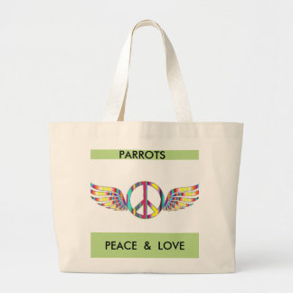 Parrots Peace and Love Tote Bag