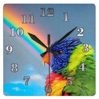 Parrots Square Wall Clock