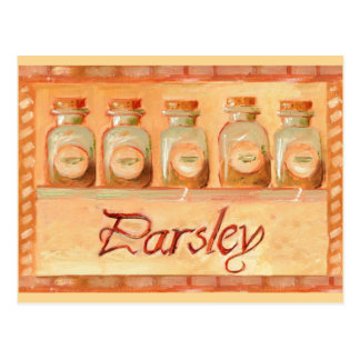 Parsley kitchen spice jars postcard