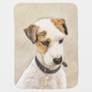 Parson Jack Russell Terrier Painting 2 Dog Art Baby Blanket