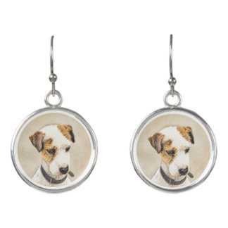 Parson Jack Russell Terrier Painting 2 Dog Art Earrings