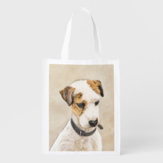 Parson Jack Russell Terrier Painting 2 Dog Art Reusable Grocery Bag