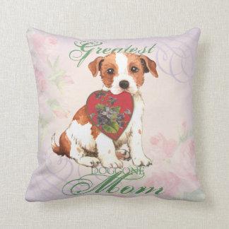 Parson Russell Heart Mom Throw Pillow