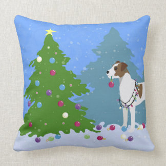 Parson Russell Terrier Decorating Christmas Tree Throw Pillow