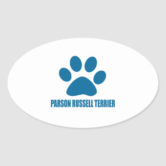 PARSON RUSSELL TERRIER DOG DESIGNS OVAL STICKER
