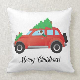 Parson Russell Terrier Driving Christmas Car Throw Pillow