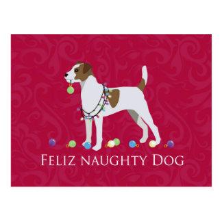Parson Russell Terrier Feliz Naughty Dog Christmas Postcard