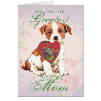 Parson Russell Terrier Heart Mom Card