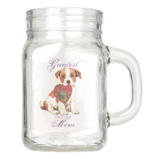 Parson Russell Terrier Heart Mom Mason Jar
