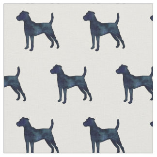 Parson Russell Terrier Silhouette Tiled - Black WC Fabric