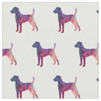 Parson Russell Terrier Silhouette Tiled - Pink Fabric