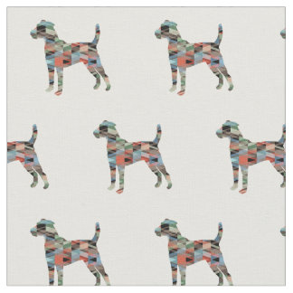Parson Russell Terrier Silhouette Tiled - Plaid Fabric