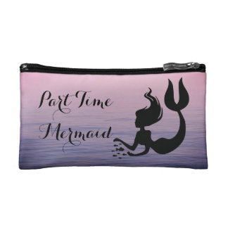 Part Time Mermaid Pink Sunset Ocean Cosmetic Bag