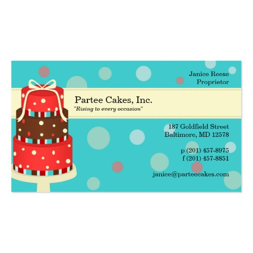 Partee Cakes Bakery Business Card