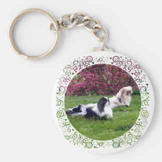 Parti-Color Pekingese Dogs Key Ring