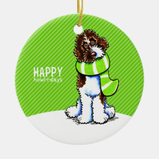 Parti Labradoodle Christmas Happy Howl-i-days Ceramic Ornament