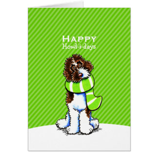 Parti Labradoodle Scarf Christmas Green Custom Card