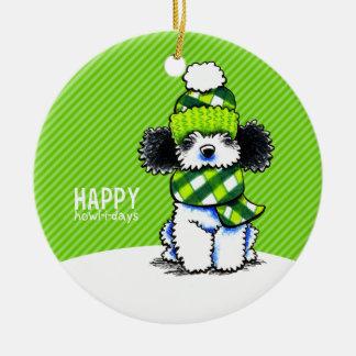 Parti Poodle Scarf Christmas Happy Howl-i-days Ceramic Ornament