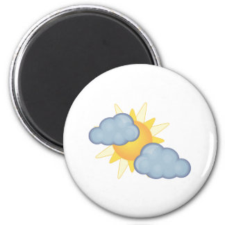 partly cloudy 6 cm round magnet