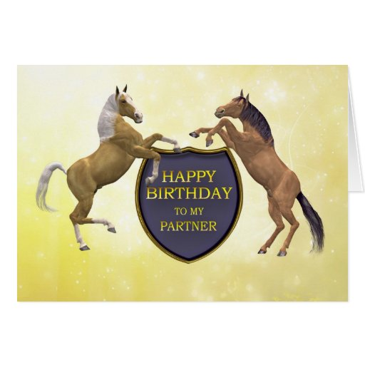 Partner, a birthday card with rearing horses