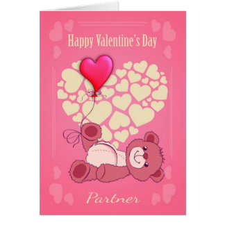 Partner, Valentine's Day With Teddy Bear And Heart Greeting Card