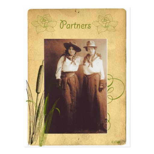 Partners Cowgirl Vintage Photo Collage Postcards