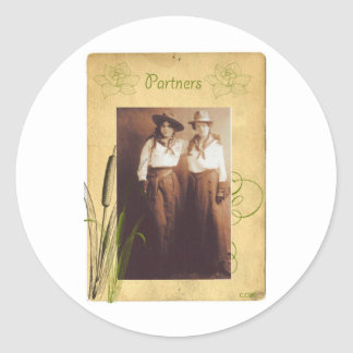 Partners Cowgirl Vintage Photo Collage Round Sticker