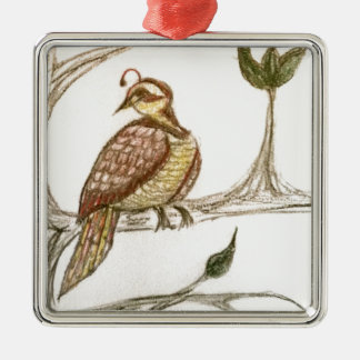 Partridge in a Green Pear Tree Silver-Colored Square Decoration