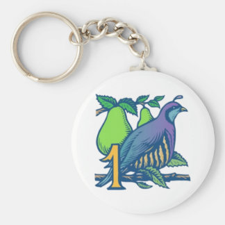 Partridge in a Pear Tree Basic Round Button Key Ring