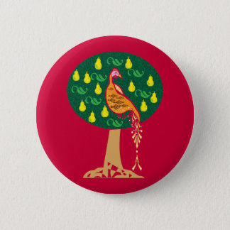 Partridge in a pear tree Christmas carol 6 Cm Round Badge