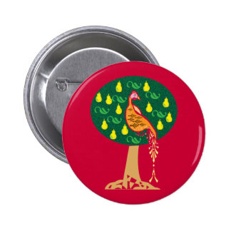 Partridge in a pear tree Christmas carol Button