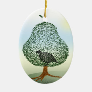 Partridge In A Pear Tree Christmas Ceramic Oval Decoration
