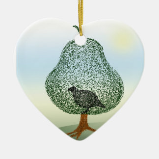 Partridge In A Pear Tree Christmas Heart Ceramic Heart Decoration