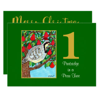 Partridge in a Pear Tree Cute Custom Christmas Card