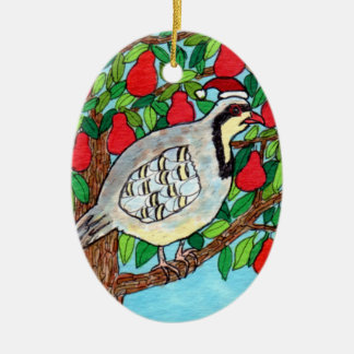 Partridge in a Pear Tree Ceramic Oval Decoration