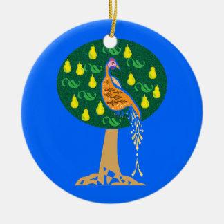 Partridge in a pear tree round ceramic decoration