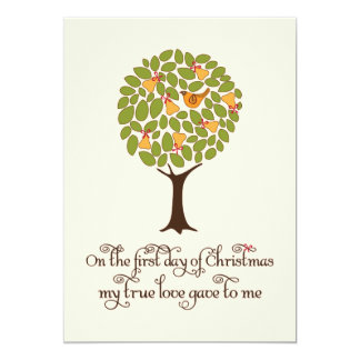 "Partridge in a Pear tree Holiday Gift Exchange 5"" X 7"" Invitation Card"
