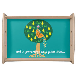 Partridge in a pear tree serving tray