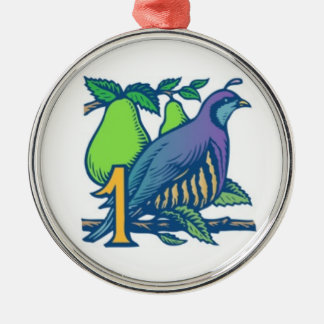 Partridge in a Pear Tree Silver-Colored Round Decoration