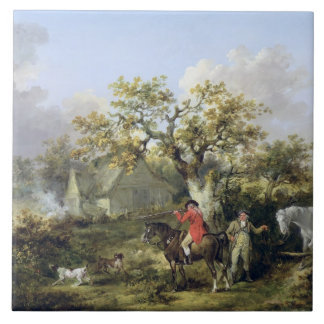 Partridge Shooting (oil on canvas) Tile